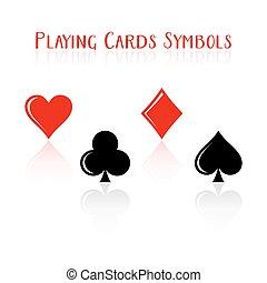 jelkép, vektor, játék kártya