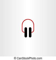 jelkép, vektor, tervezés, fülhallgató, ikon