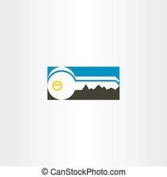 jelkép, vektor, tervezés, kulcs icon