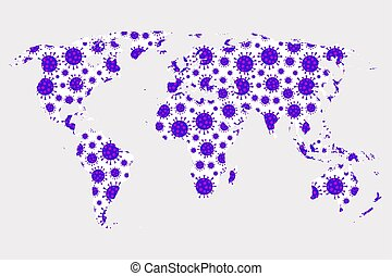jelkép, világ, mintás, térkép, covid-19