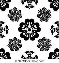 jelkép, virág, illustration., elszigetelt, seamless, japán, stilizált, háttér, fekete, sakura, fehér
