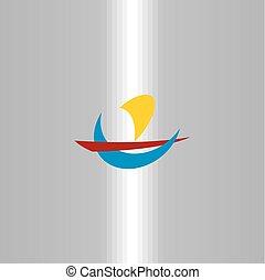 jelkép, vitorlázik, aláír, jel, utazás, csónakázik, ikon