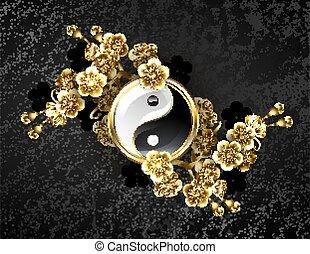 jelkép, yin, arany-, sakura, yang