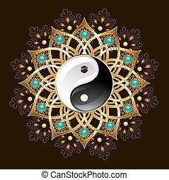 jelkép, yin, mandala, yang