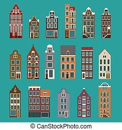 jellegzetes, európai, épület