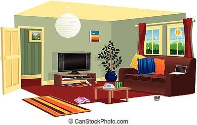 jellegzetes, színhely, livingroom