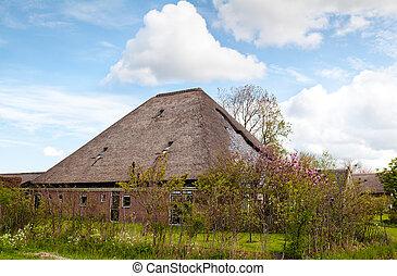 jellegzetes, tanya, holland, épület
