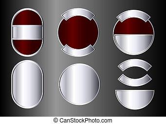 jelvény, állhatatos, ezüst, piros