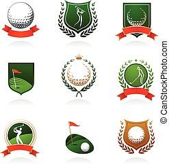 jelvény, golf