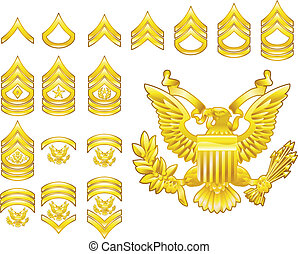 jelvény, hadsereg, ikonok, besorol, amerikai, közkatona