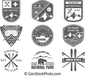 jelvény, külső, járőr, vadon, hódeszka, állhatatos, jel, monochrom, jelvény, design., hegy, tél, szüret, utazás, sport, csípőre szabott, húzott, síel, felfedező, klub, labels., kéz, kaland, jelkép., ikon, vektor