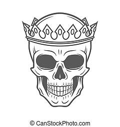 jelvény, király, illustration., koponya, szüret, concept., fejtető, királyi, póló, tervezés, sötét, element., csontváz