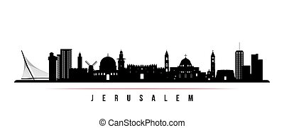 jeruzsálem, horizontális, láthatár, banner.