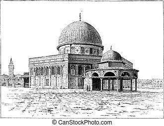 jeruzsálem, szüret, omar, mecset, engraving.