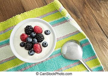 joghurt, friss, reggeli, bogyók, finom