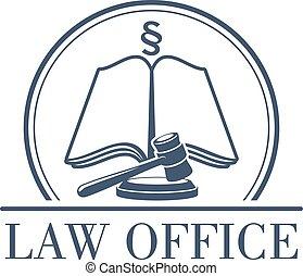 jogi, hivatal, vektor, kód, árverezői kalapács, törvény, ikon