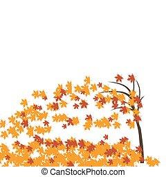 juharfa, felteker, autumn., fa, leaves., sárga, ábra, bukott, piros