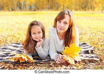 juharfa, pléd, gyermek, napos, együtt, ősz, sárga, őt lap, anya, portré, nap, fekvő