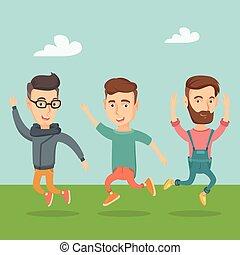 jumping., vidám, csoport, young emberek