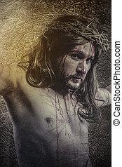 kálváriadomb, ábrázolás, krisztus, indulat, jézus