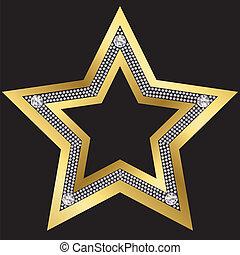 káró, arany-, vektor, csillag