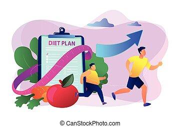 kár, fogalom, illustration., súly, diéta, vektor