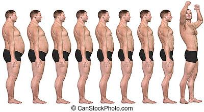 kár, súly, egészséges, siker, után, 3, kövér, előbb, ember