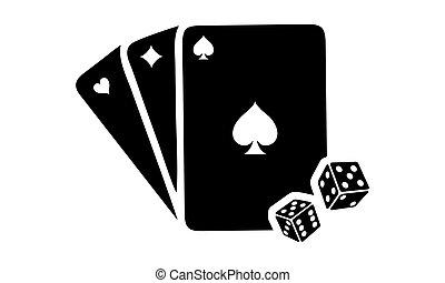 kártya, ábra, dobókocka
