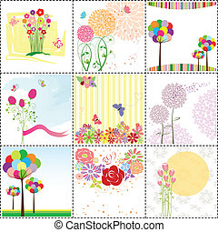 kártya, állhatatos, köszönés, színes, virág