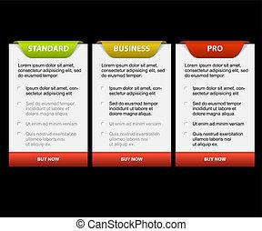 kártya, összehasonlítás, termék, vektor, versions