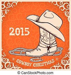 kártya, új, kifogásol, köszönés, cowboy, western, év