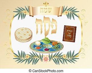kártya, ünnep, zsidó, boldog, zsidó húsvét, köszönés, szüret