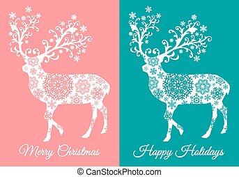 kártya, őz, vektor, karácsony