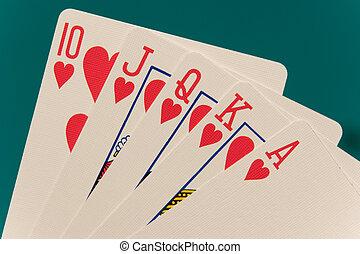 kártya, 10, piszkavas, királyi pirul