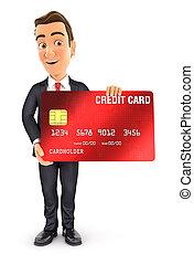 kártya, 3, álló, üzletember, hitel