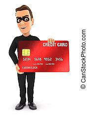 kártya, 3, álló, tolvaj, hitel