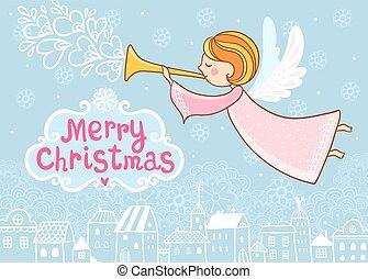 kártya, angel., karácsony, repülés, köszönés