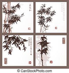 kártya, bambusz, állhatatos, bitófák