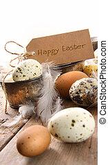 kártya, barna, ikra, húsvét, pettyes