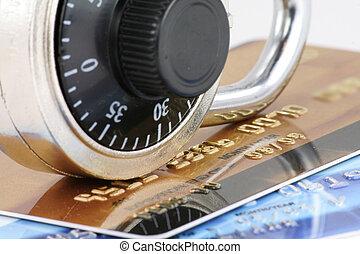 kártya, becsuk, zár, hitel, feláll