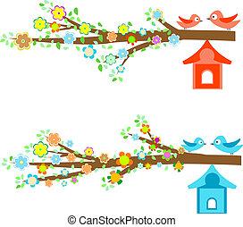 kártya, birdhouses, elágazik, madarak, ülés