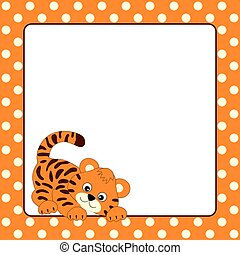 kártya, csecsemő, vektor, sablon, polka tarkít, háttér, tiger