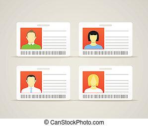 kártya, csinos, azonosítás, gyűjtés, személy