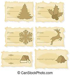 kártya, dolgozat, öreg, nyomtatott, karácsony