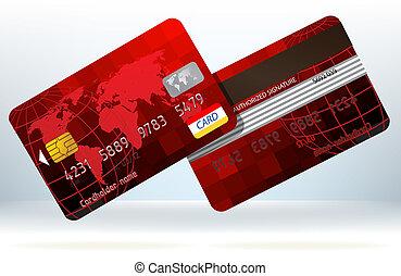 kártya, eps, hát, hitel, elülső, 8, nézet.