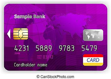 kártya, eps, hitel, vektor, ibolya, elülső, 8, nézet.