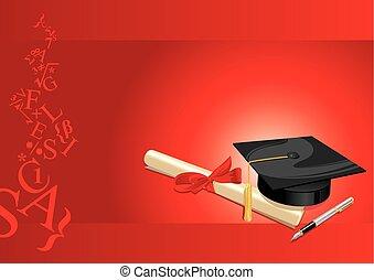 kártya, fok, egyetem, köszönés, piros, főiskola