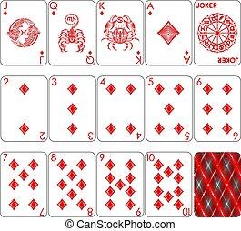kártya, gyémánt, játék, illeszt