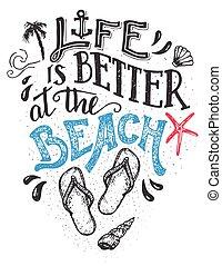 kártya, hand-lettering, jobb, élet, tengerpart