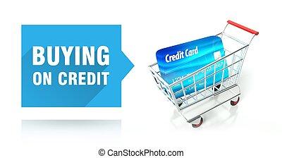 kártya, hitel, bevásárlás, vásárlás, kordé
